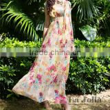New beach printed chiffon blackless dress all types of ladies casual dresses pictures thin sand V-neck collar dress