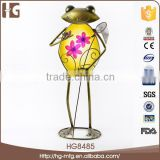 Specialized style cute frog craft metal 24x14x53CMH HG8485 cheap garden decor with high quality