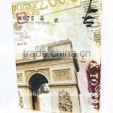 Paris Triumphal Arch Printed Art Paper Wrapping O Ring Binder Desktop File Folder for Office Stationery Cardboard A4 or FC Size