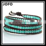 New Trendy Leather Wrap Bracelet 4MM Green Stone Handmade Bead Bracelets Bead Jewelry Manufacturer