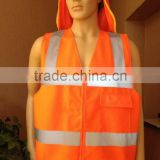 Orange safety vest with pockets and zipper