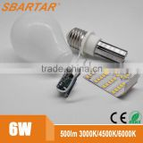 Ceramic base glass cover 6w led bulb smd2835 OEM available/ led bulb manufacturing/smart led bulb                                                                         Quality Choice