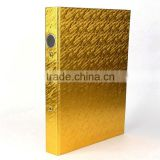 2016 newest Specialty paper gold moire 2 hole ring binder presentation A4 PP folder for business