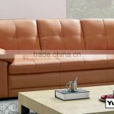 Living room furniture set L shaped sofa made in Top Grain Leather modern design solid wood frame 8001-3
