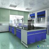 Chemistry physics biology scientific lab bench with reagent shelf