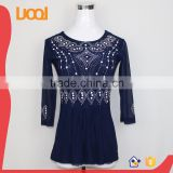 2015 new design fat ladies & women chiffon blouse shirt model