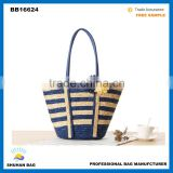 full colors straw beach bag with flower accessory, european mixture colors straw beach women bag