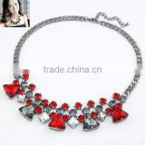 Unique Luxury Bright Exquisite Popular Crystal and Glass Alloy Heart and Square Pendant Silver Necklace in Stock