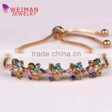 Multicolor Brilliant Cubic Zirconia Crystal Stone Floral Design Adjustable Allure Bracelets in assorted