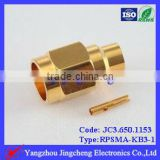 Reverse Polarity SMA male body with female pin solder for semi rigi RG402 cable