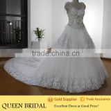 Real Works Luxury Train Crystal Beaded Corset Bodice Wedding Dresses in Dubai 2016