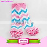 wholesale cotton kid's legwarmer with ruffle chevron baby legwarmers holiday leggings for children