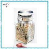 High quality glass apothecary stainless steel spice condiment storage containers jar wholesale