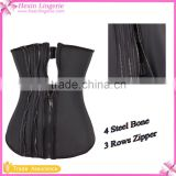 Black 4 Steel Bone Black 3 Rows Zipper Latex Waist Cincher