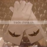 High quality Masonic White Cotton Gloves With Best Embroidery