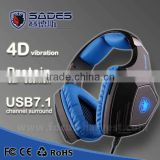 2015 new SADES A60 7.1 channels gaming headset earphone with supper bass and shaking effect                                                                         Quality Choice