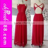 The most popular design red color floor length sleeveless long beautiful chiffon evening dress