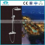 Elegant Wall Mounted Bathroom Thermostatic Shower Faucet Set + Rainfall Head + Hand Shower