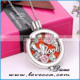 Aroma Jewelry Diamond Flower Essential Oil Diffusing Locket Pendant Necklace For Aromatherapy