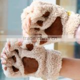 Woman Winter Fluffy Bear/Cat Plush Paw/Claw Glove-Novelty soft toweling lady's half covered gloves mittens christmas gift