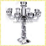 Handmade Exquisite Tall Crystal Silver Plated Candelabra For Party Wedding Centerpiece Decoration