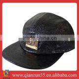 New style black Leather metal logo 5 panel cap Visor Camp 5 Panel Adjustable Hat Cap the misfit