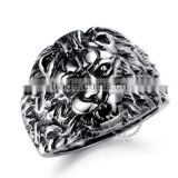 5MM Stainless steel vintage antiqued silver lion head ring fashion ring steam punk jewelry 6240027