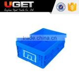 Durable recycled plastic collapsible container box crate