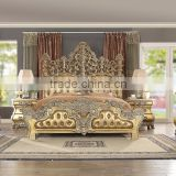 Classic King Size Solid Wood Bedroom Set/Golden Color Italian Style Hotel And Villa Bedroom Furniture(MOQ=1 SET)
