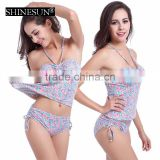 2017 hanging neck triangle split high waist cover belly swimwear plus size conservative bikini