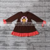 Autumn New Arrival Long Sleeve Smocked Dress for Baby Girls Cute Applique Brown Tutu Dress Boutique Outfit Wholesale Cheap Store