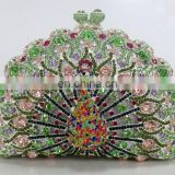2015 Peacock clutch bag/ shining evening clutch/high quality Crystal Clutch