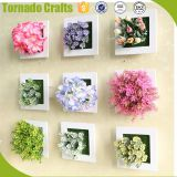 White Creative 3d metope succulent plants imitation wooden photo frame wall decor Artificial green decoration