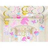 XL059 30pcs Unicorn party kids Birthday Party Decorations foil Swirls Unicorn Party hanging swirl decoration
