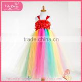 High waist braces overalls ambilight colorful rainbow dress for halloween costume gauze dress                                                                                                         Supplier's Choice