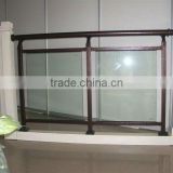 Wrought iron glass balustrade designs MADE in FACTORY with in-house powder coat line