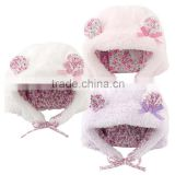 Japanese wholesale cute and high quality baby hats with animal ear flower pattern lining and strap infant wear child clothes kid