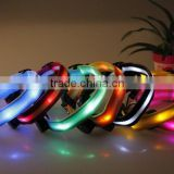 Newly Design Nylon Material Colorful LED light blinking Pet Dog Collar with on-off switch