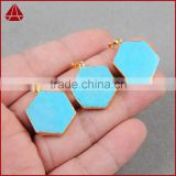 Sky blue color howlite turquoise hexagon-shaped pendant women jewelry necklace