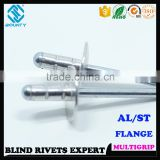 HIGH QUALITY FACTORY OPEN HEAD ALUMINUM STEEL LARGE FLANGE HEAD MULTIGRIP POP BLIND RIVETS