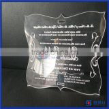 2016 Customized laser cut logo printing acrylic wedding invitation card / wedding invitation card luxury
