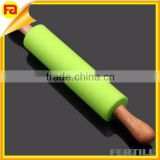 Kitchen Craft Green Silicone NonStick Revolving Rolling Pin Wooden Handle