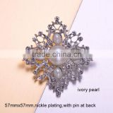 (M0465P) vintage brooch ,57mmx57mm rhinestone metal brooch with pin at back,nickle or light rose gold plating