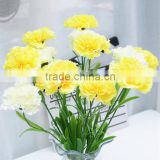 good quality single stem silk carnation flower for festival gift
