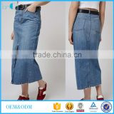 Hot sale young ladies maxi split front a-line denim skirts 2016