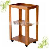 Wooden Color Solid Wood Mobile Equipment Trolley Beauty Salon Trolley