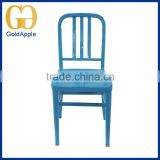 China stackable blue Commercial chair powder coating metal dining chair
