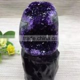 Natural Rock Dark Purple Amethyst Geodes Uruguay Crystal Ornaments On Sale