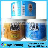 OEM custom type quality hot foil printing sticker seal bottles