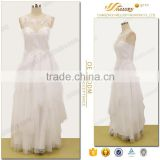 Beautiful lace appliqued sleeveless illusion tiered tulle long white wedding dress